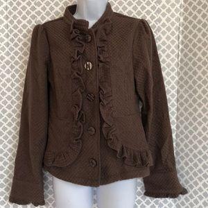 Decree ruffle front tan taupe jacket coat
